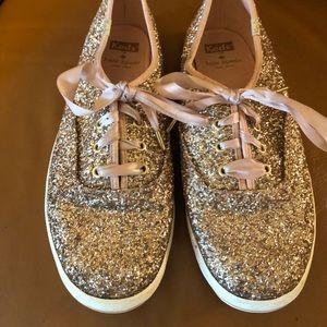 Kate Spade rose gold glitter Keds
